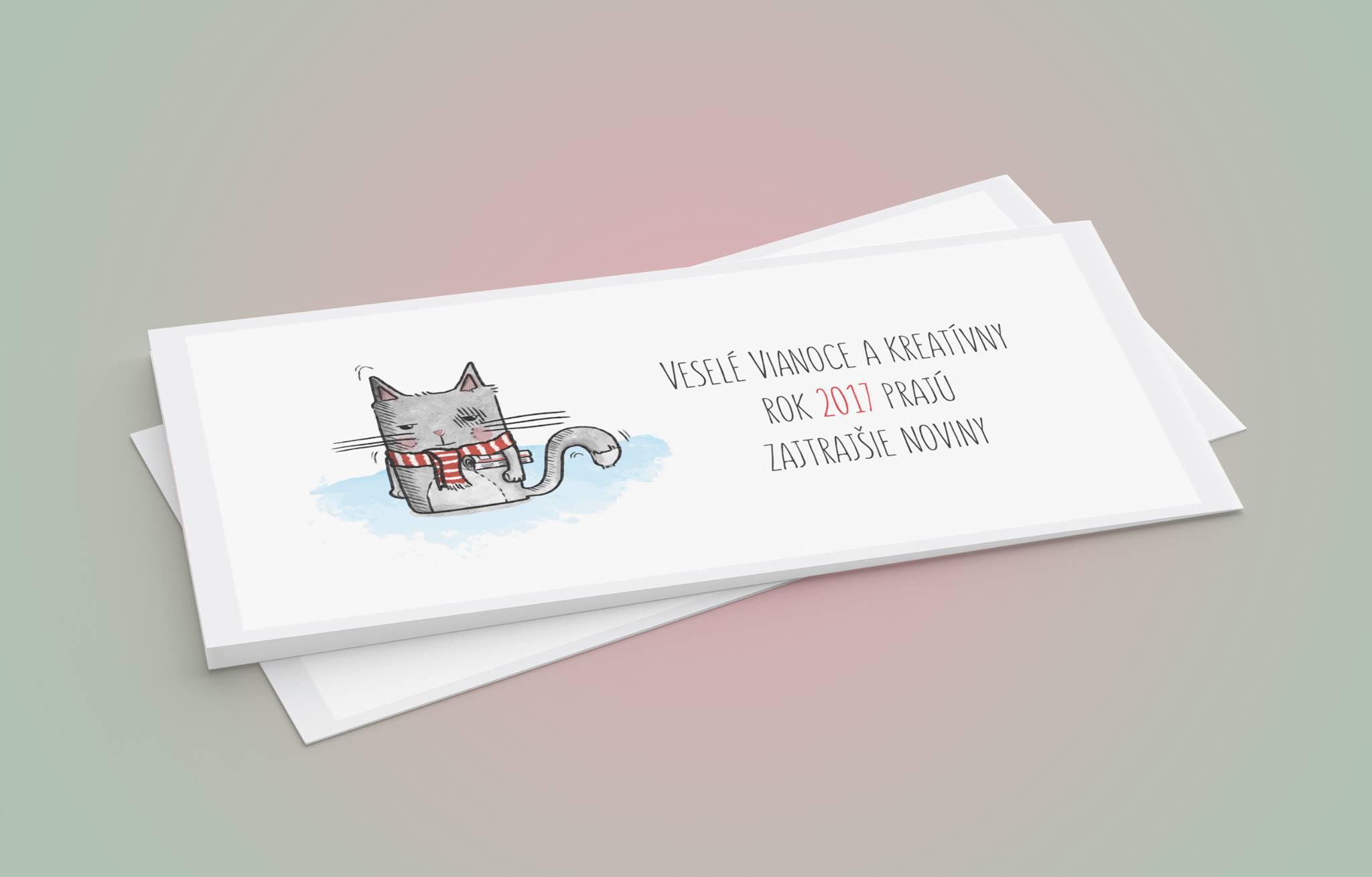 Ručne kreslená mačacia PF-ka pre Zajtrajšie noviny - Váš bezplatný sprievodca kultúrou