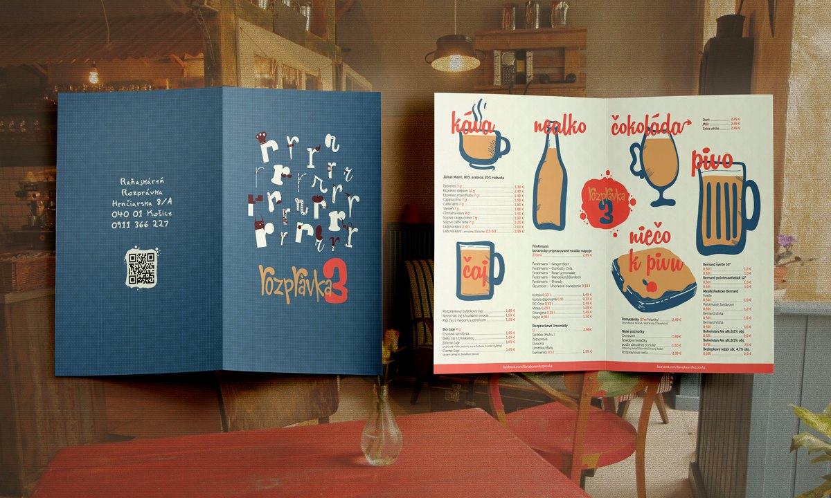 Kreslené menu pre jednu zo série prevádzok Raňajkáreň Rozprávka