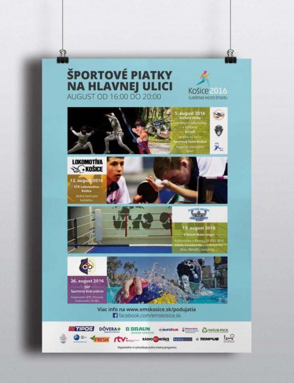 Grafika plagát Športové piatky Košice