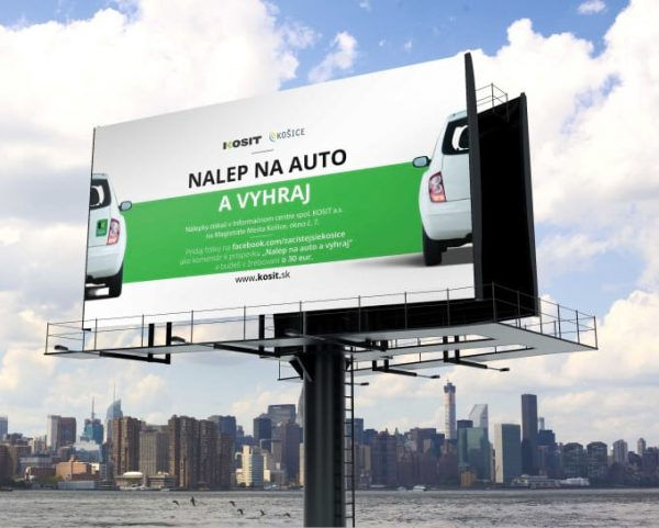 Grafika billboard Nalep na auto a vyhraj KOSIT