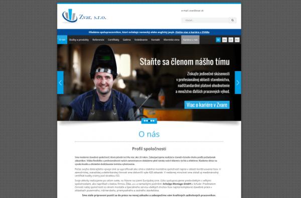 Webstránka spoločnosti ZVAR