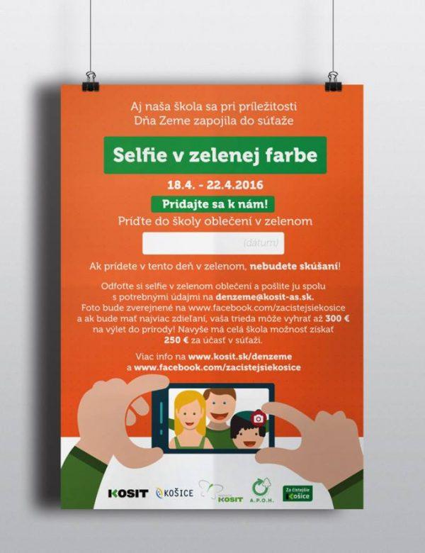 Plagát súťaže Selfie v zelenej farbe